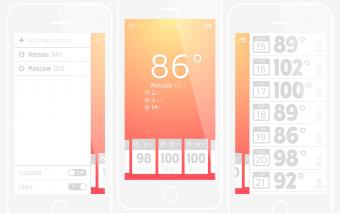 Дизайн приложения погоды для iOS в Иллюстраторе